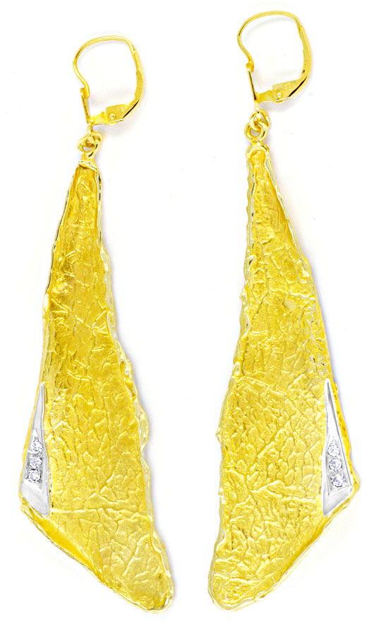 Foto 2, Riesen Brillant Ohrgehänge, 14K Gelbg. Weissgold Luxus!, S8987