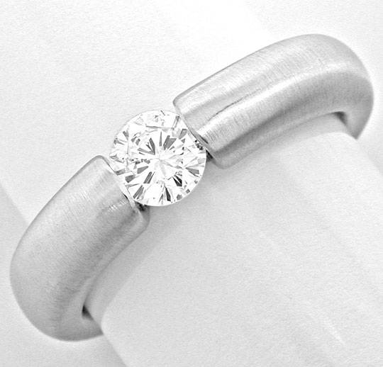 Foto 2, Brillant Spann Ring River D massiv Weissgold Luxus! Neu, S8992