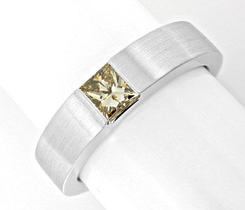 Foto 1, Princess Diamant Spann Ring 0,48ct 18K Weissgold Luxus!, S8999