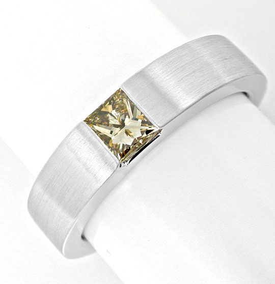 Foto 2, Princess-Diamant Spann-Ring 0,48ct 18K Weissgold Luxus!, S8999