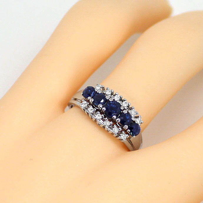 Foto 5 - Saphire 0,93ct und Brillianten 0,14ct in Weissgold Ring, S9014