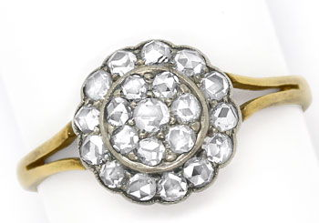 Foto 1, Original alter Ring mit 0,64ct Diamantrosen Gold Silber, S9018