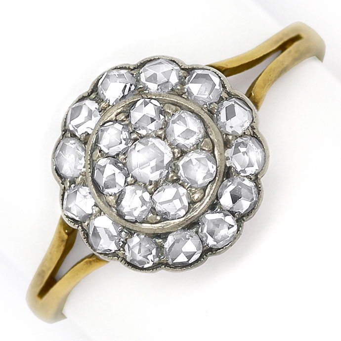 Foto 2, Original alter Ring mit 0,64ct Diamantrosen Gold Silber, S9018