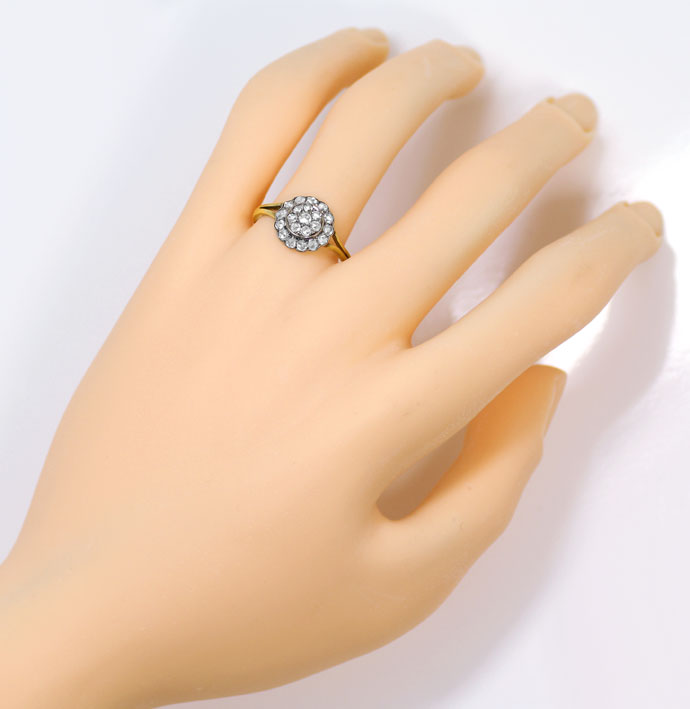 Foto 4, Original alter Ring mit 0,64ct Diamantrosen Gold Silber, S9018