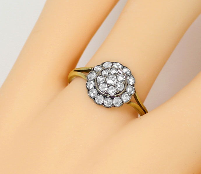 Foto 5, Original alter Ring mit 0,64ct Diamantrosen Gold Silber, S9018