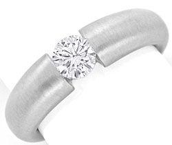 Foto 1, Diamant Spannring 0,52 ct Brillant 18K Weissgold Luxus!, S9038