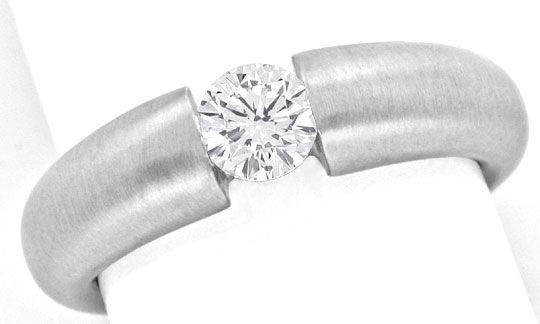 Foto 2, Diamant Spannring 0,52 ct Brillant 18K Weissgold Luxus!, S9038