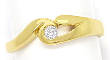 Foto 1 - Solitaer Brillant Ring Elegant geschwungen 0,08ct River, S9052