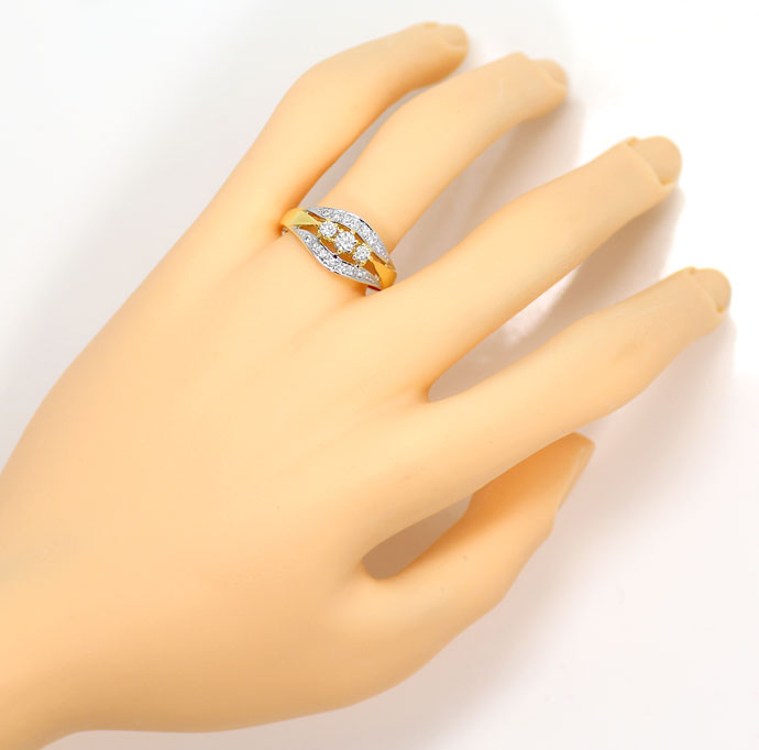 Foto 4, Dekorativer Goldring mit 0,51ct River Brillanten in 14K, S9054