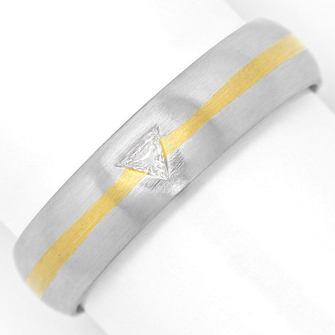 Foto 2, Ring mit 0,07ct River Triangel Diamant, Platin und Gold, S9070