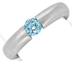 Foto 1, Goldring Diamant Blau Fancy Intense Blue Treated Luxus!, S9076