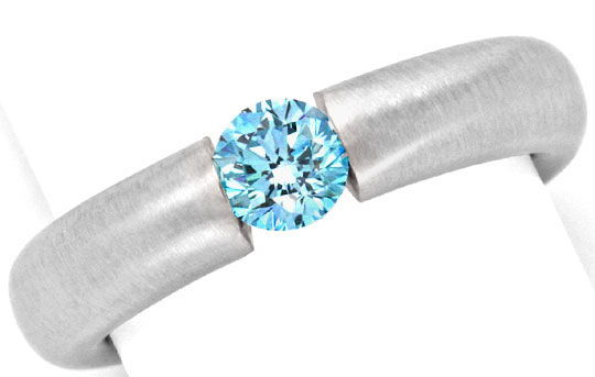 Foto 2, Goldring Diamant Blau Fancy Intense Blue Treated Luxus!, S9076