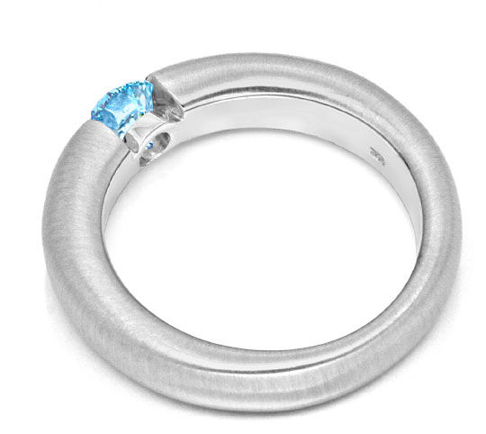 Foto 3, Goldring Diamant Blau Fancy Intense Blue Treated Luxus!, S9076