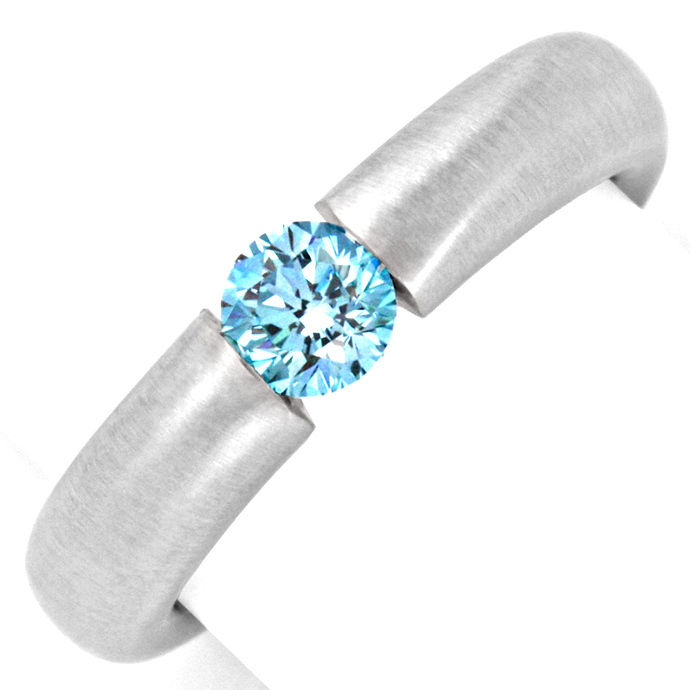 Goldring Diamant Blau Fancy Intense Blue Treated Luxus!, Designer Ring