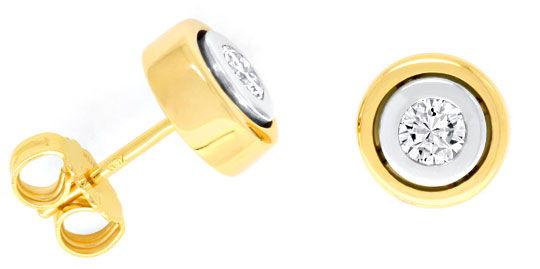 Foto 1, Diamant Ohrstecker Brillanten Gelbgold Weissgold Luxus!, S9077