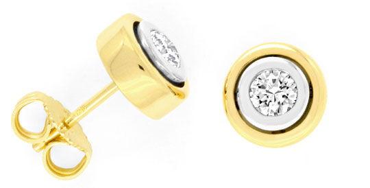 Foto 1, Brillant Ohrstecker Diamanten Weissgold Gelbgold Luxus!, S9078