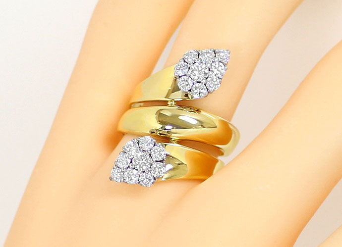 Foto 5, Ring mit 1,40ct River Brillianten in Gelbgold Weissgold, S9079