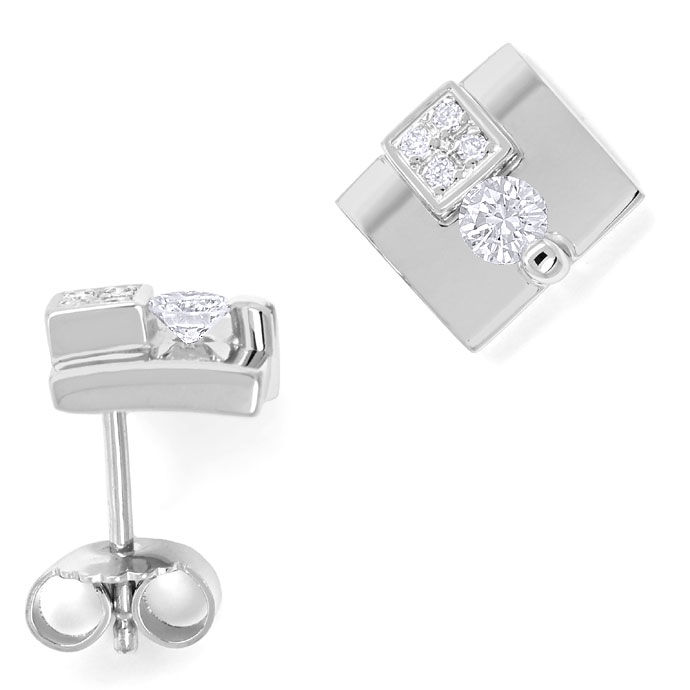 Foto 1, Designer Ohrstecker 0,36ct Brillianten in 18K Weissgold, S9090