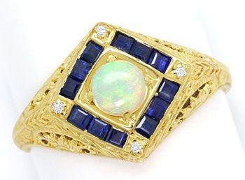 Foto 1, Filigraner Gelbgoldring, Opal, Safir Carrees, Diamanten, S9099
