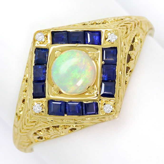 Foto 2, Filigraner Gelbgoldring, Opal, Safir Carrees, Diamanten, S9099
