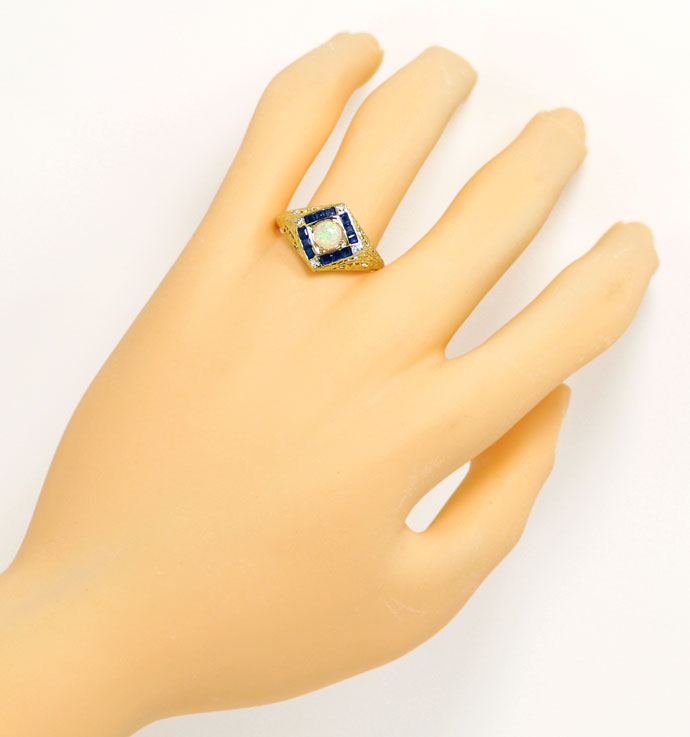 Foto 4, Filigraner Gelbgoldring, Opal, Safir Carrees, Diamanten, S9099