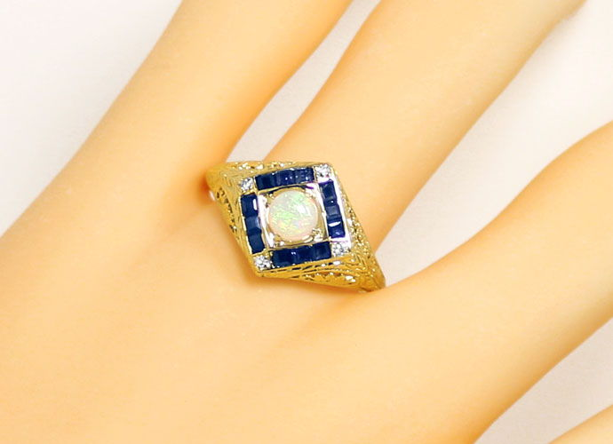 Foto 5, Filigraner Gelbgoldring, Opal, Safir Carrees, Diamanten, S9099