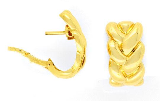 Foto 1, Original Cartier Zopf Ohrringe Elise Oj Gelbgold Luxus!, S9102