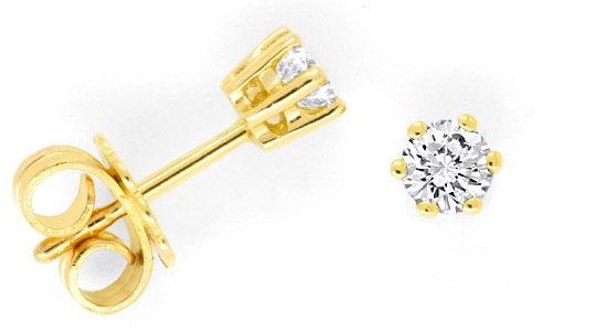 Foto 1, Paar Krappen Brillant Diamantohrstecker Gelbgold Luxus!, S9136
