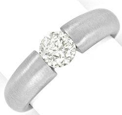 Foto 1, Brilliant Spannring 0,86ct Diamant 18K Weissgold Luxus!, S9138