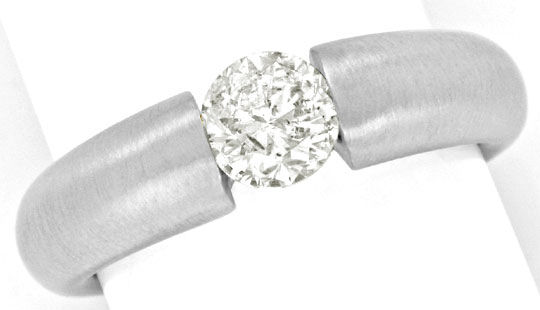 Foto 2, Brilliant Spannring 0,86ct Diamant 18K Weissgold Luxus!, S9138