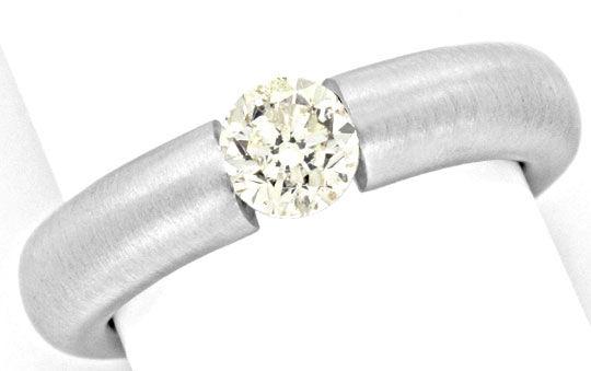 Foto 2, Diamant Spannring 0,78ct Brilliant 18K Weissgold Luxus!, S9139