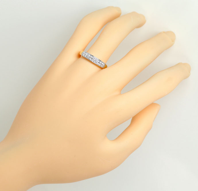 Foto 4, Halbmemory-Ring mit 0,20ct Brillanten, 18K Bicolor-Gold, S9152