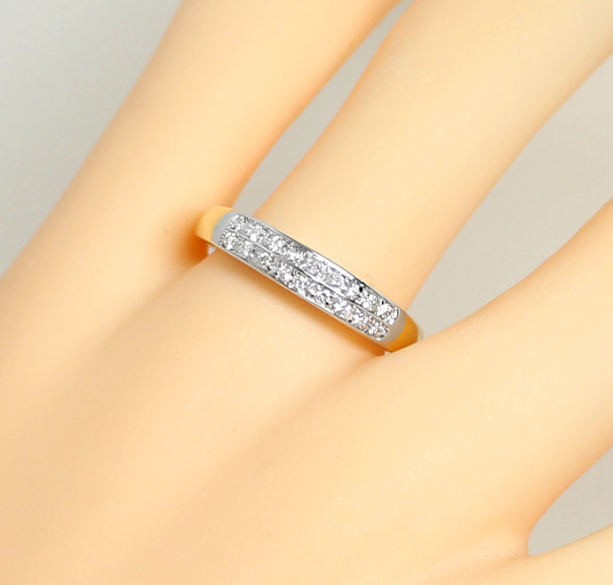 Foto 5, Halbmemory Ring mit 0,20ct Brillanten, 18K Bicolor Gold, S9152