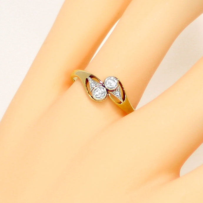 Foto 5 - Feiner Jugendstil Ring mit 0,26ct Diamanten Platin Gold, S9160
