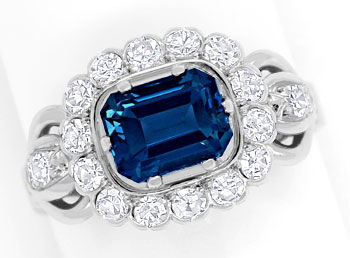 Foto 1, Weissgoldring 2,24ct London Blue Topas 0,70ct Diamanten, S9163