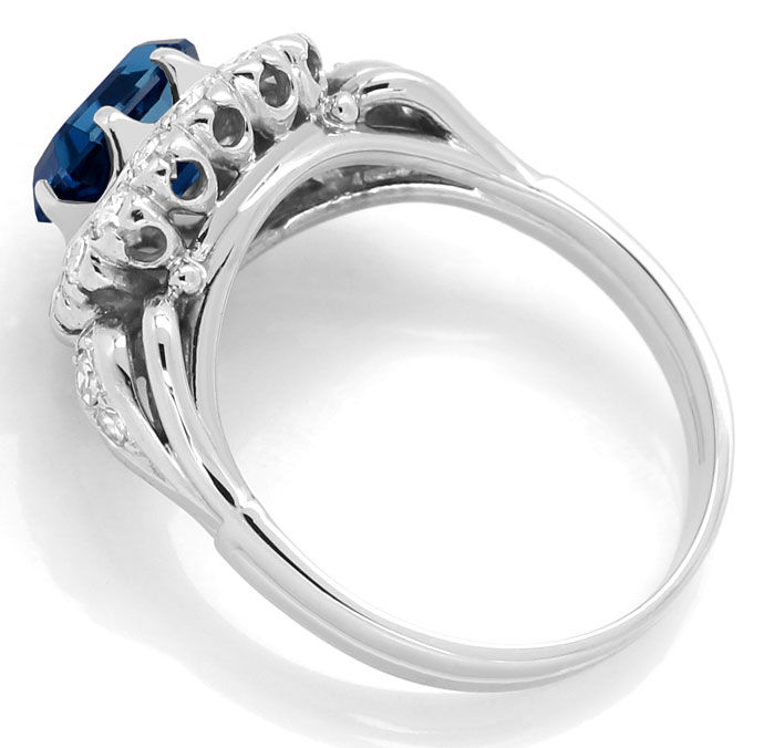 Foto 3, Weissgoldring 2,24ct London Blue Topas 0,70ct Diamanten, S9163