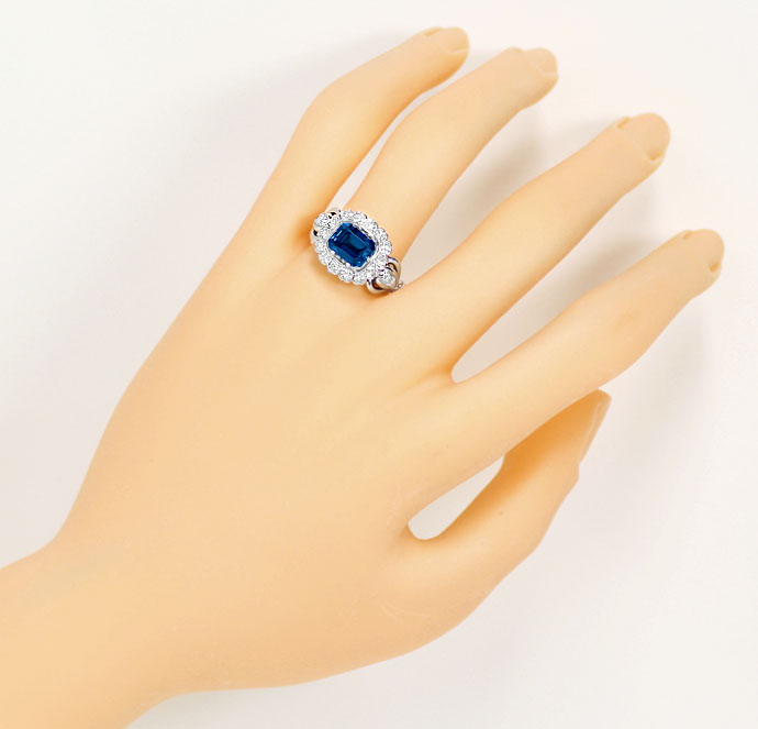 Foto 4, Weissgoldring 2,24ct London Blue Topas 0,70ct Diamanten, S9163