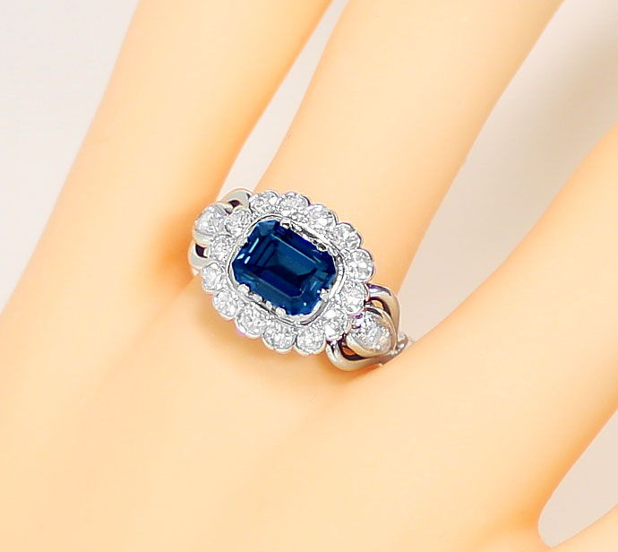 Foto 5, Weissgoldring 2,24ct London Blue Topas 0,70ct Diamanten, S9163