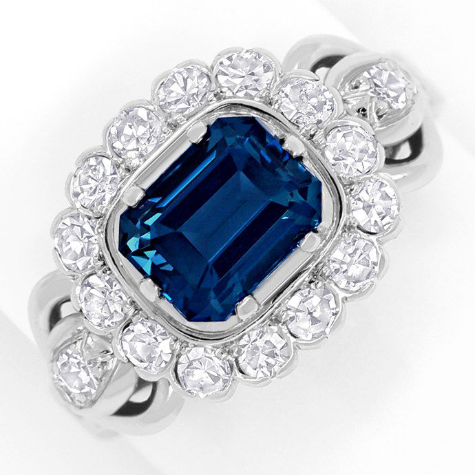 Weissgoldring 2,24ct London Blue Topas 0,70ct Diamanten, Edelstein Farbstein Ring