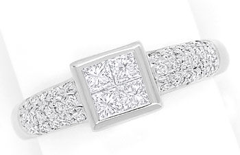 Foto 1, Diamantring 0,86ct Princess Cut und Brillanten Weißgold, S9167