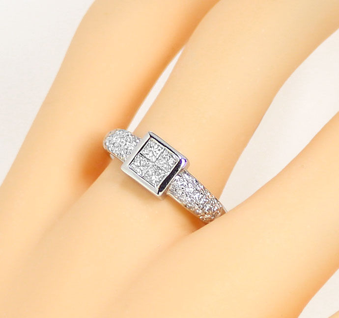 Foto 5, Diamantring 0,86ct Princess Cut und Brillanten Weißgold, S9167
