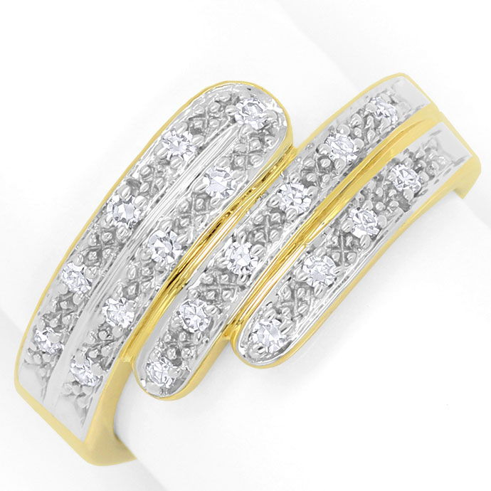 Foto 2, Moderner Gold Ring mit 0,22ct Diamanten River Lupenrein, S9198
