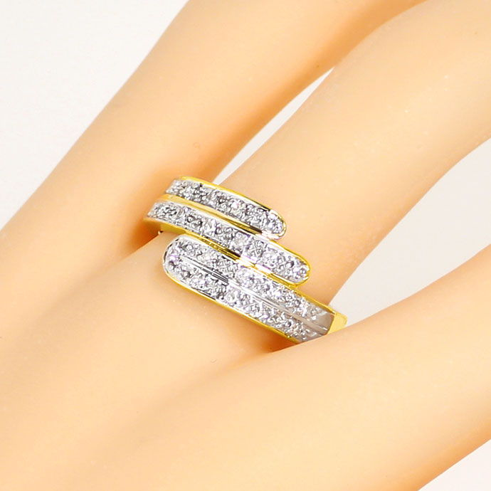 Foto 5, Moderner Gold Ring mit 0,22ct Diamanten River Lupenrein, S9198
