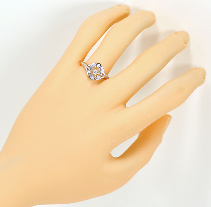 Foto 4, Diamantring mit 0,21ct River Brillanten in Weißgold 14K, S9223