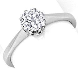 Foto 1, Brillant Diamant Ring 0,76 F VVS2 Weissgold 18K Schmuck, S9228