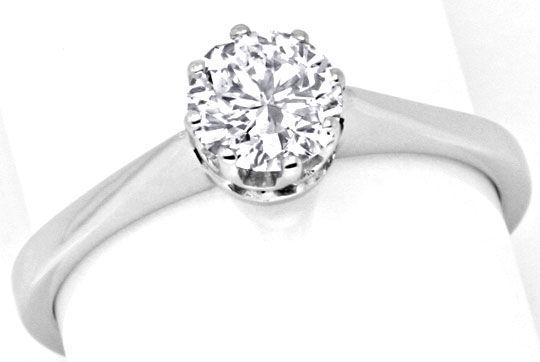Foto 2, Brillant Diamant Ring 0,76 F VVS2 Weissgold 18K Schmuck, S9228