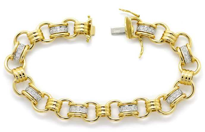 Foto 1, Design Glieder Armband mit 0,7ct Brillanten in 14K Gold, S9232