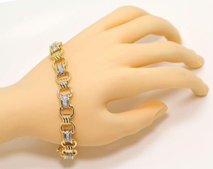 Foto 4, Design Glieder Armband mit 0,7ct Brillanten in 14K Gold, S9232