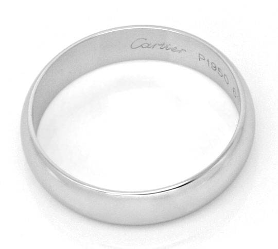 Foto 3, Original Cartier Platinring Alliance Pt 950 Gr61 Luxus!, S9240
