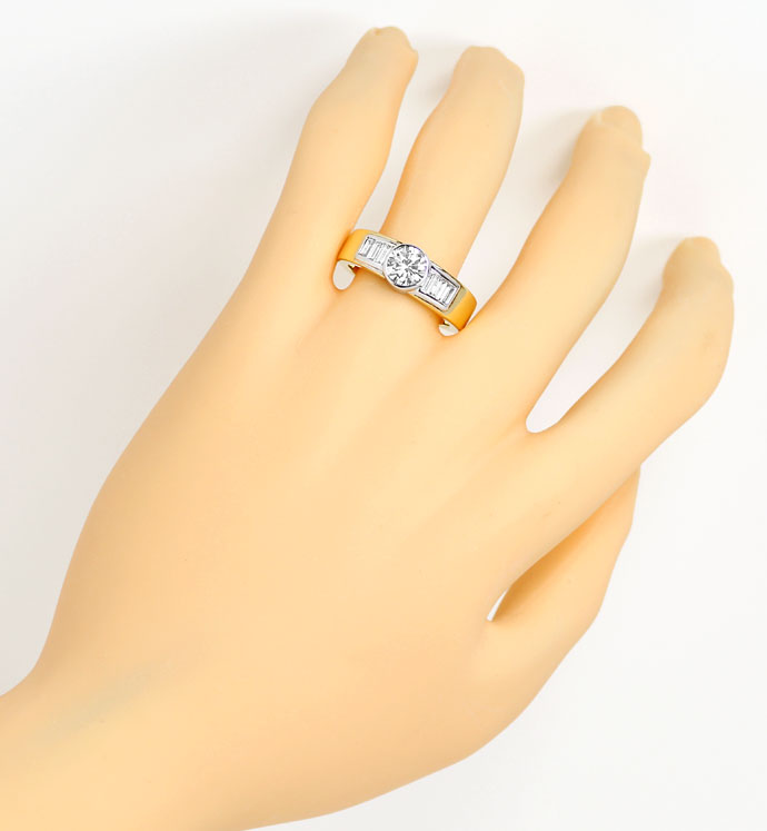 Foto 4, Handarbeits Ring 1,09 Brillant 0,56ct Diamant Baguetten, S9258